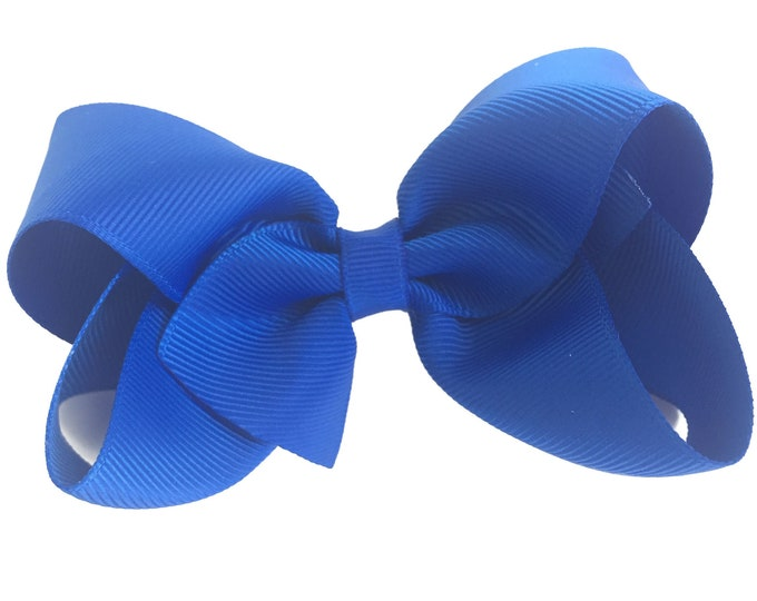 Royal blue hair bow - hair bows, bows for girls, hair clips, baby bows, boutique bows, toddler bows, big hair bows
