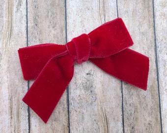Red velvet hair bow - hair bows, hair bow, bows, hair clips, velvet bows, hair bows for girls, baby bows, velvet hair bows, girls hair bows