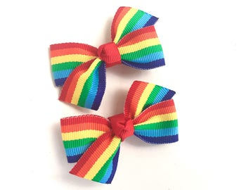 Rainbow pigtail bows, rainbow bows, toddler bows, pigtail bows, rainbow hair bows, girls hair bows, girls bows, baby bows, baby hair bows