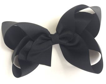 Large hair bow - black hair bow, hair bows, bows for girls, big hair bows, girls hair bows, cheer bows, toddler bows