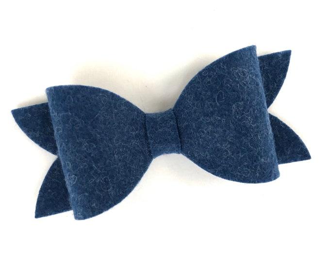 Dark blue hair bow - felt hair bow, hair bows, bows for girls, hairbows, girls hair bows, toddler bows