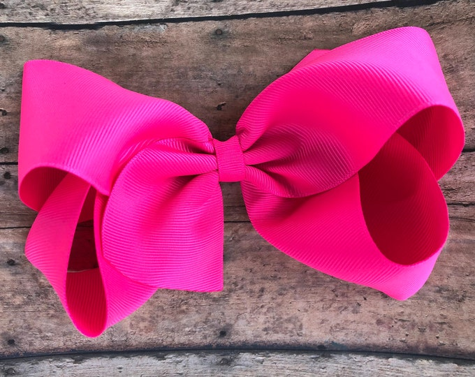 Extra large hair bow - 6 inch hair bows, hair bows, neon pink hair bow, cheer bows, big hair bows, girls hair bows, neon bow