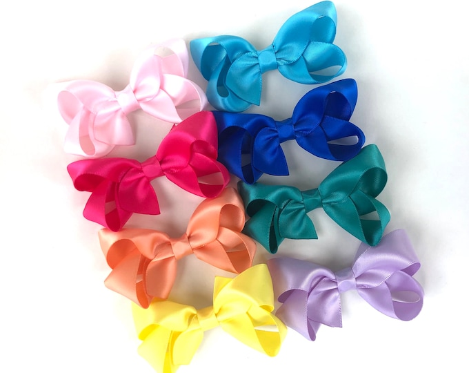 Satin hair bows - satin bows, hair bows for girls, baby bows, toddler hair bows, 3 inch hair bows
