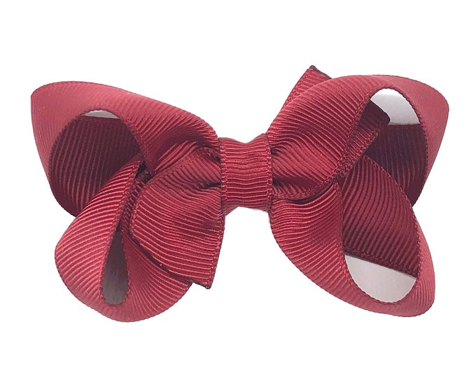 Maroon hair bow - girls bows, baby bows, pigtail bows, baby hair bows, toddler hair bows, hair clips, baby girl