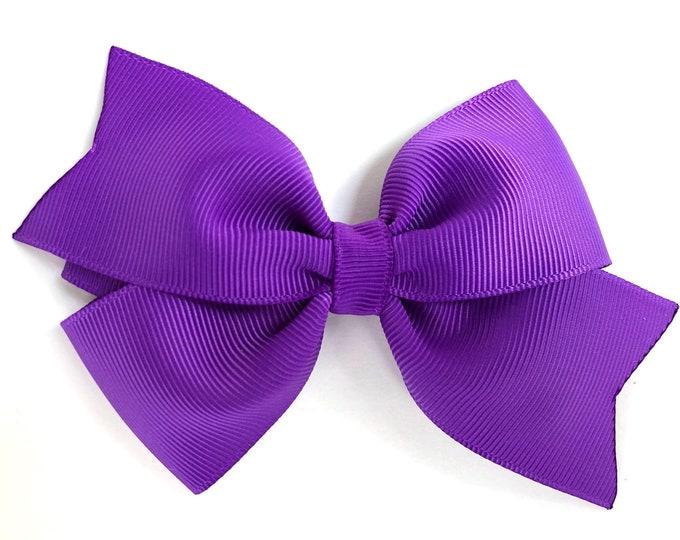 Purple hair bow - hair bows, bows for girls, girls hair bows, toddler bows, girls bows, 4 inch hair bows