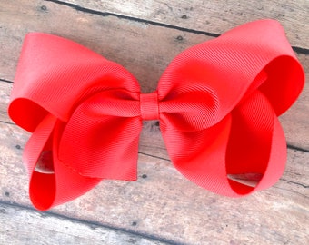 Large hair bow - 6 inch hair bows, bright coral hair bow, cheer bows, big hair bows, girls hair bows