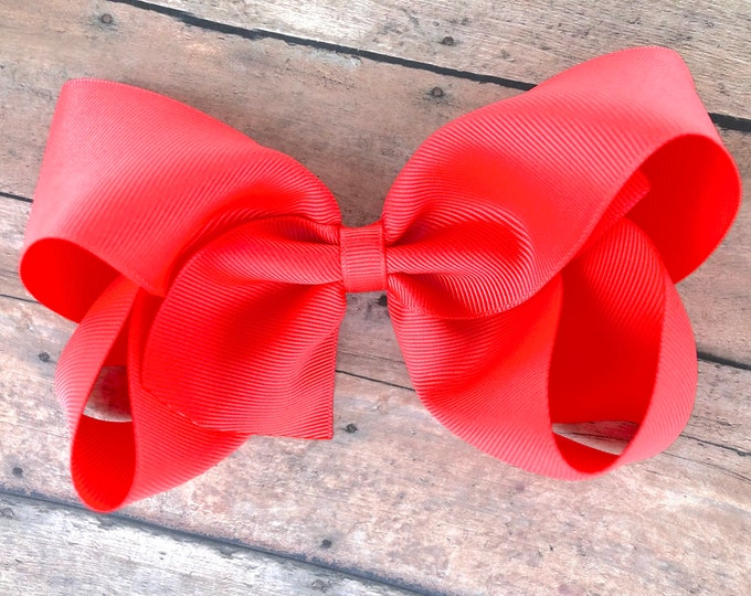 Large hair bow - 6 inch hair bows, bright coral hair bow, cheer bows, big hair bows, girls hair bows