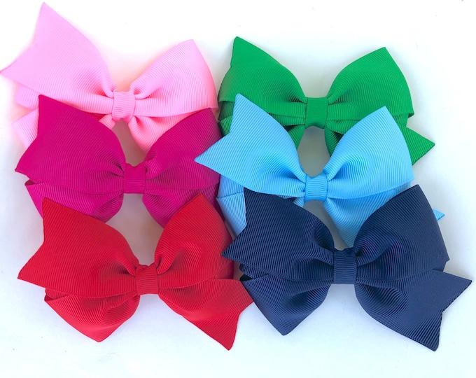 PICK 6 hair bows - 4 inch hair bows, hair bows, hair clips, bows for girls, baby bows, girls hair bows, toddler hair bows