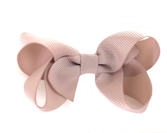 Toddler hair bow - taupe hair bows, girls bows, baby bows, toddler bows, 3 inch hair bows, boutique  bows