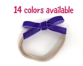 Baby headband - nylon headband, velvet bows, baby girl headband, baby headband bows, newborn headband, baby bows, velvet bows