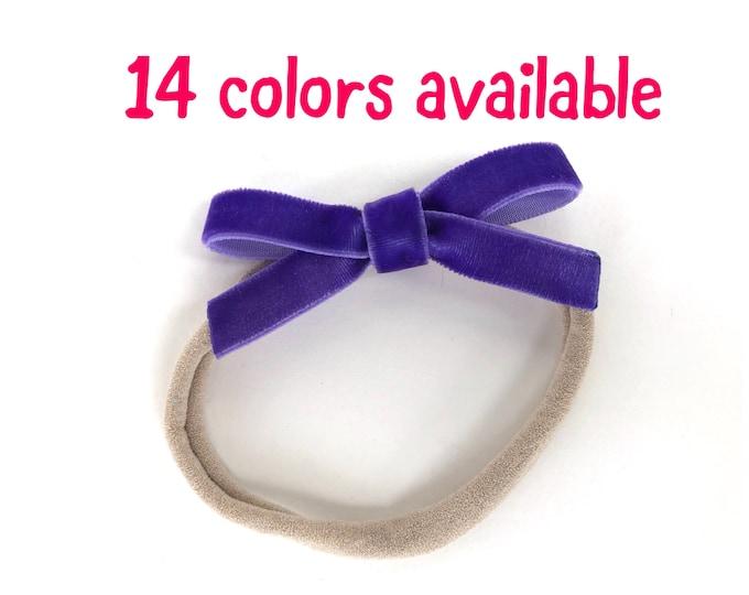 Velvet baby headband - nylon headband, baby headband, baby girl headband, baby headband bows, newborn headband, baby bows, velvet bows