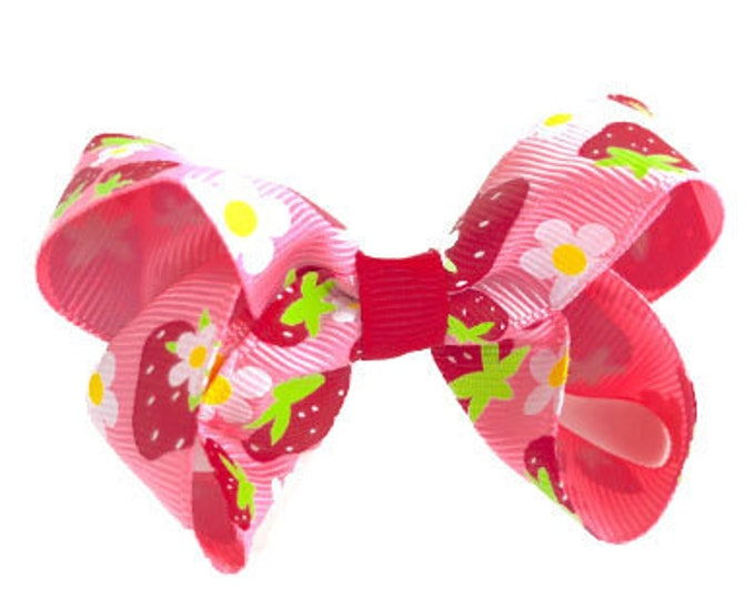 Strawberry hair bow - hair bows for girls, baby bows, baby hair bows, toddler hair bows, girls bows, boutique bow