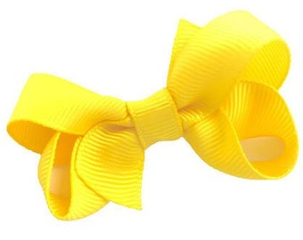 Small yellow hair bow - hair bows, baby bows, girls bows, toddler hair bows, pigtail bows, yellow bows, small bows