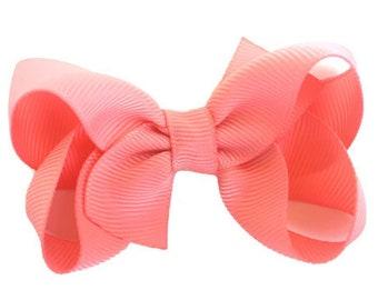 Sky Blue XL Ribbon Glitter Hair Bow  Spring Summer Solid Hair Bow Headband Big Bow Hair Clip