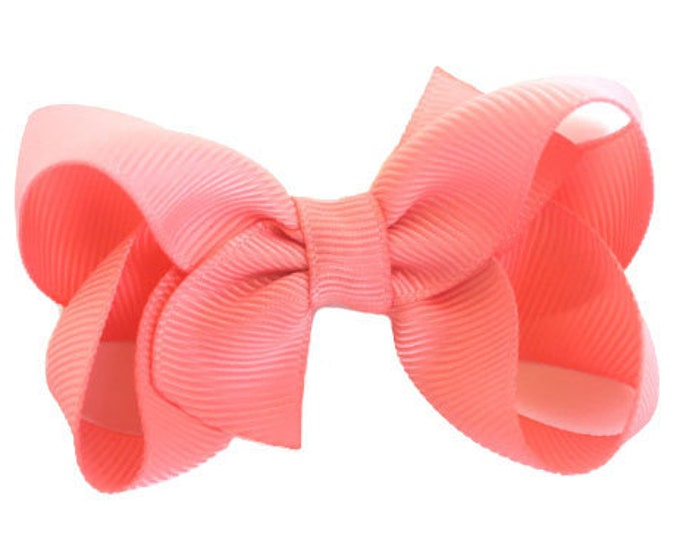 Light coral hair bow - hair bows for girls, baby bows, pigtail bows, toddler bows, boutique bows, 3 inch hair bows