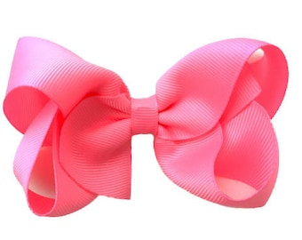 Bubblegum pink hair bow - hair bows, bows for girls, baby bows, toddler bows, pigtail bows, boutique bows