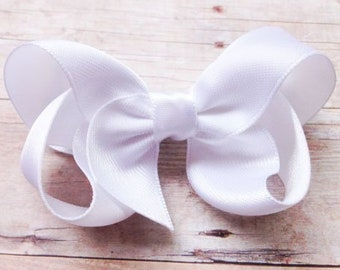 White satin hair bow - satin bows, white hair bows, bows for girls, baby bows, toddler bows, satin hair bows