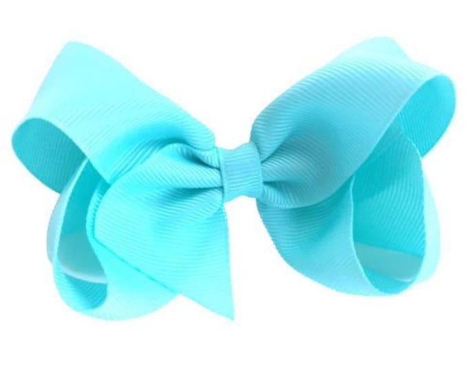 Baby Blue hair bow - hair bows for girls, toddler hair bows, boutique bows, 4 inch hair bows