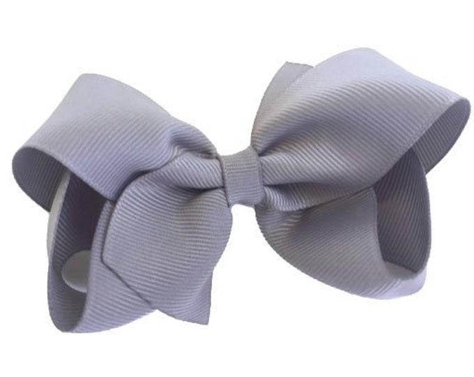Gray hair bow - hair bows, bows for girls, toddler hair bows, boutique bows, 4 inch hair bows