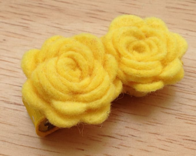 Yellow flower hair clip - felt hair clip, hair bows, hair clips, bows for girls, baby bows, baby hair bows, hairbows, felt