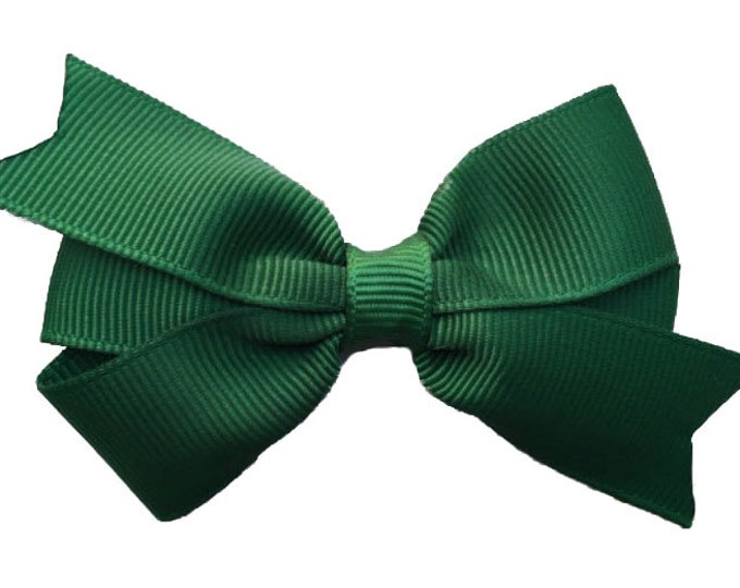 Dark Green hair bow- hair bows, bows for girls, baby bows, baby hair bows, pigtail bows, toddler hair bows, girls bows