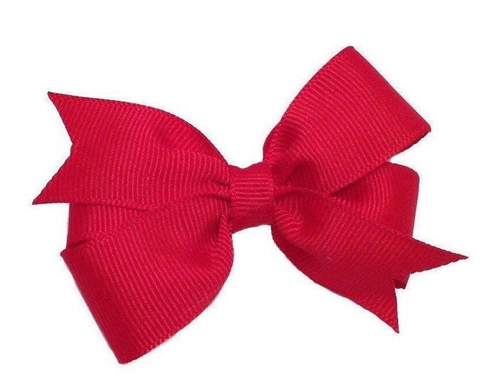 Red hair bow - hair bows, bows for girls, baby bows, baby hair bows, toddler hair bows, pigtail bows, girls hair bows, hairbows