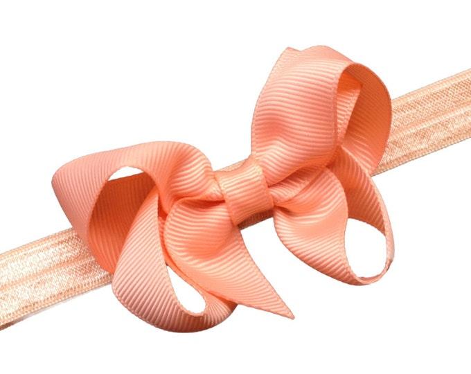 Peach baby headband - baby girl headband, baby headband bows, newborn headband, baby bows, headbands baby girl, bow headband