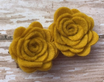 Mustard yellow felt flower hair clip - felt flower clips, felt hair bows, felt bows, hair bows for girls, baby hair bows, hair clips, bows