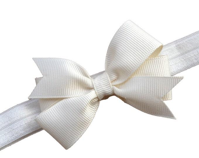 Ivory baby headband - baby headband bows, baby girl headband, newborn headband, baby bows, hair bows, bow headband