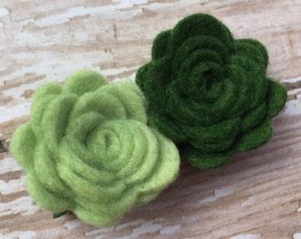 Green felt flower hair clip - felt hair bows, felt bows, flower hair clips, baby hair bows, girls hair bows, toddler bows, hair bows