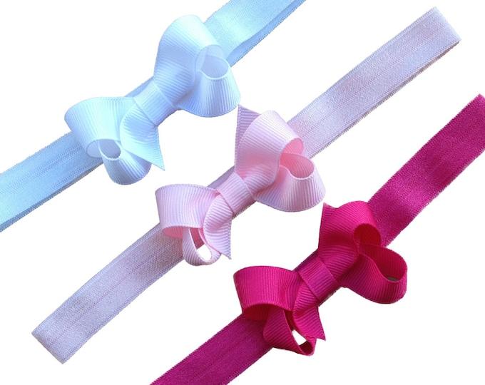 Set of 3 baby headbands - baby headband bows, newborn headbands, bow headbands, baby bow headbands, baby girl, baby bows, baby headband set