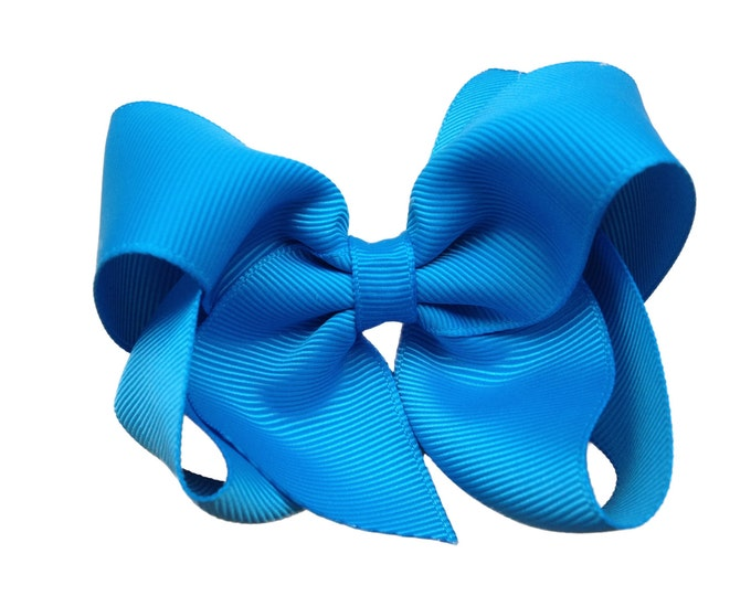 Island blue hair bow - hair bows, boutique bows, toddler bows, hair bows for girls, big hair bows, baby bows