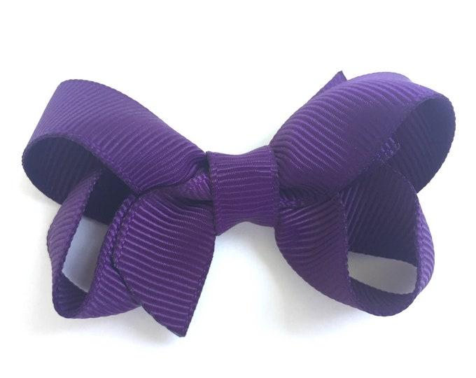 Dark purple hair bow - hair bows, baby bows, bows for girls, pigtail bows, toddler bows, small bows