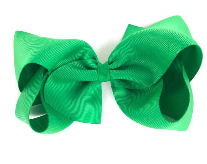 Large hair bow - 6 inch hair bow, green hair bow, hair bows, cheer bows, big hair bow, toddler hair bows, extra large hair bow