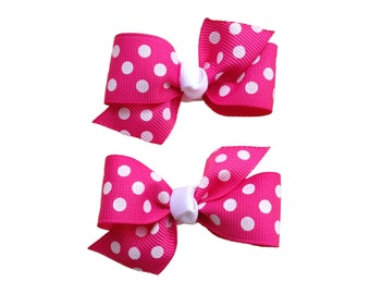 You pick color pigtail bows - polka dot bows, hair bows, hair clips, bows for girls, baby bows, baby girl bows, toddler hair bows