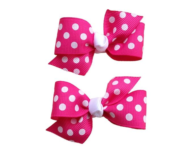You pick color pigtail bows - polka dot bows, hair bows, hair clips, bows for girls, baby bows, baby girl bows, toddler hair bows