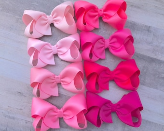 Baby Shower Gift Hair Bows Hair Accessories Pigtail Bows Pink Bow Baby Girl Headbands Newborn Bows Upcycled Blue Pinwheel Bow