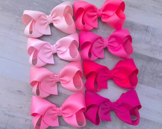 YOU PICK pink hair bow - hair bows, bows for girls, baby bows, toddler hair bows, boutique bows, hair clips, girls hair bows