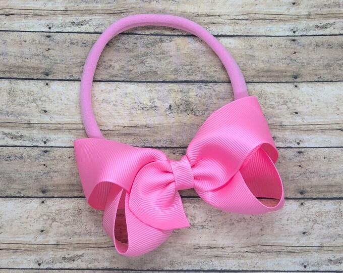 Pink baby headband - baby headband bows, nylon headband, baby girl headband, newborn headband, baby bows, baby hair bows