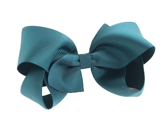 Girls hair bow - teal bows, hair bows, girls bows, toddler hair bows, boutique hair bows, 4 inch hair bows