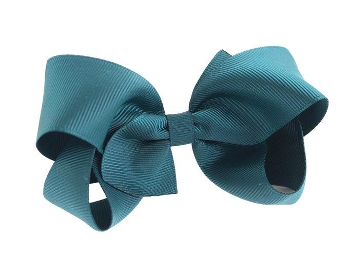 Girls hair bow - teal bows, hair bows, girls bows, toddler hair bows, boutique hair bows, 4 inch hair bows