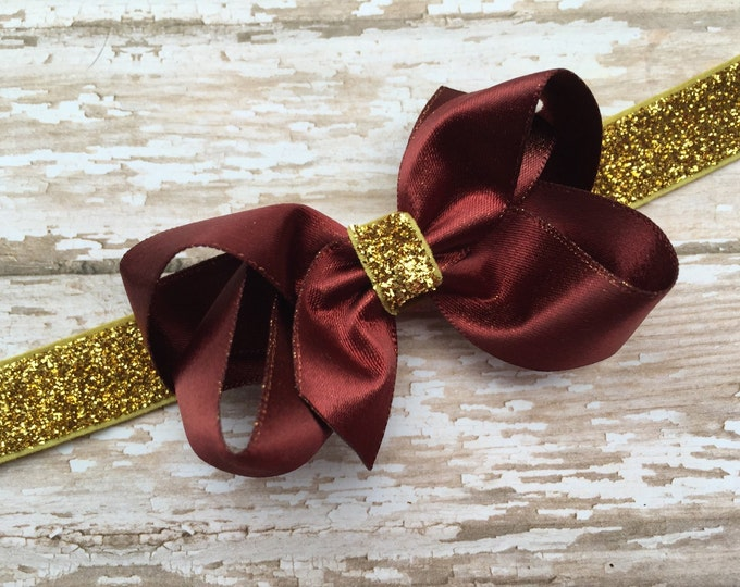 Burgundy baby headband - gold baby headband, baby headband bows, baby bows, baby girl headbands, hair bows