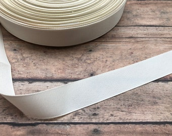 5 yards 7/8 inch ivory grosgrain ribbon - ivory ribbon, grosgrain ribbon, hair accessories, ribbon supplies, offray ribbon, hair bows