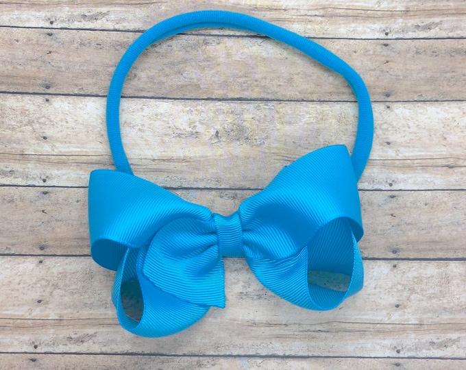 Turquoise baby headband - baby girl headband, nylon headband, baby headband bows, newborn headband, baby bows, baby hair bows, bow headband