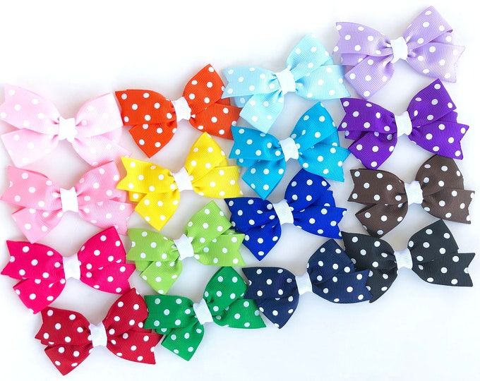 Polka dot hair bows - hair bows for girls, baby bows, toddler hair bows, boutique hair bows, 3 inch hair bows