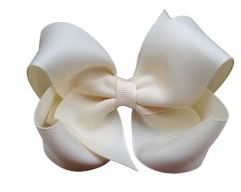 Ivory hair bow - hair bows, hair bows for girls, baby bows, bows, toddler hair bows, boutique hair bows, big hair bows, hair clips, hairbows