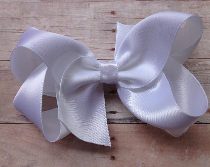 White satin hair bow - hair bows, satin bows, satin hair bows, bows for girls, girls hair bows, hair clips, toddler hair bows