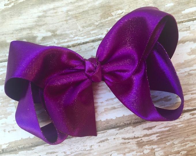 Purple gold hair bow - hair bows, satin bows, bows for girls, toddler hair bows, purple bows