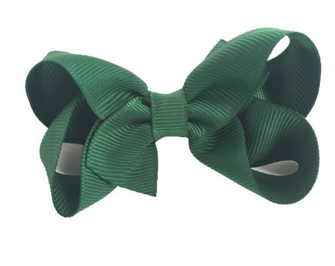 Dark green hair bow - hair bows, bows for girls, baby bows, pigtail bows, toddler bows, 3 inch hair bows