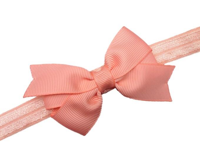 Peach baby headband - baby girl headband, baby headband bows, newborn headband, baby bows, baby hair bows